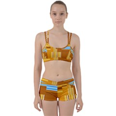 Endless Window Blue Gold Women s Sports Set
