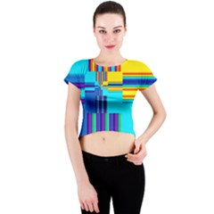 Colorful Endless Window Crew Neck Crop Top by designworld65