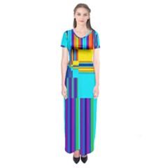 Colorful Endless Window Short Sleeve Maxi Dress by designworld65