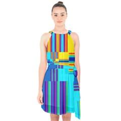 Colorful Endless Window Halter Collar Waist Tie Chiffon Dress by designworld65
