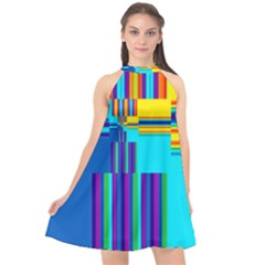 Colorful Endless Window Halter Neckline Chiffon Dress  by designworld65