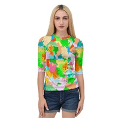 Colorful Summer Splash Quarter Sleeve Raglan Tee by designworld65