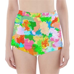Colorful Summer Splash High Waisted Bikini Bottoms by designworld65