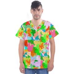 Colorful Summer Splash Men s V Neck Scrub Top