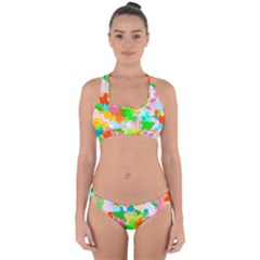 Colorful Summer Splash Cross Back Hipster Bikini Set by designworld65