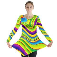 Summer Wave Colors Long Sleeve Tunic  by designworld65