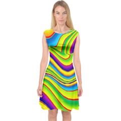 Summer Wave Colors Capsleeve Midi Dress by designworld65