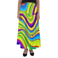 Summer Wave Colors Flared Maxi Skirt by designworld65
