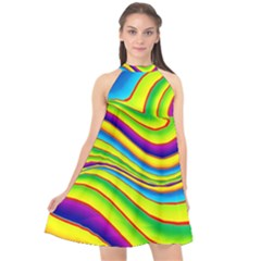 Summer Wave Colors Halter Neckline Chiffon Dress  by designworld65