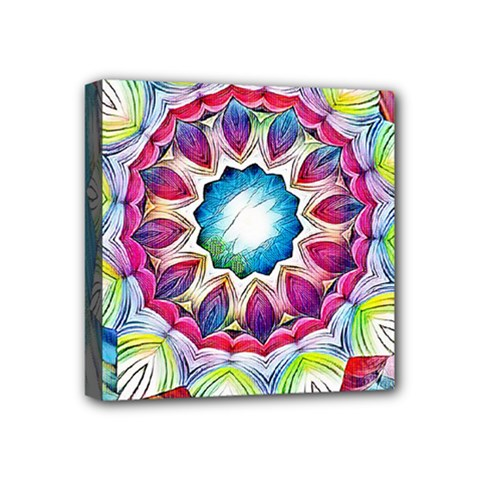 Sunshine Feeling Mandala Mini Canvas 4  X 4  by designworld65