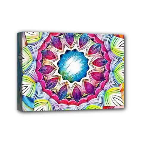 Sunshine Feeling Mandala Mini Canvas 7  X 5  by designworld65