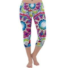 Sunshine Feeling Mandala Capri Yoga Leggings by designworld65