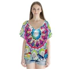 Sunshine Feeling Mandala V Neck Flutter Sleeve Top by designworld65