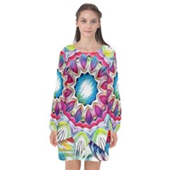Sunshine Feeling Mandala Long Sleeve Chiffon Shift Dress  by designworld65