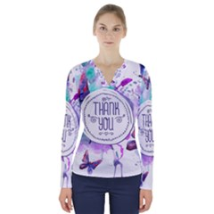Thank You V Neck Long Sleeve Top