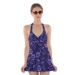 Floral Halter Swimsuit Dress