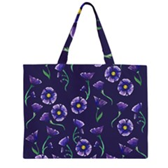 Floral Zipper Large Tote Bag