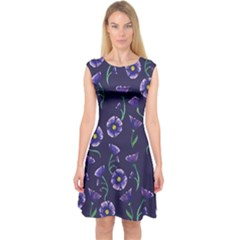 Floral Capsleeve Midi Dress by BubbSnugg