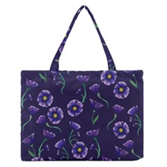 Floral Zipper Medium Tote Bag