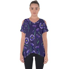 Floral Cut Out Side Drop Tee