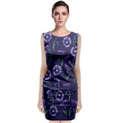 Floral Sleeveless Velvet Midi Dress