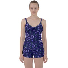 Floral Tie Front Two Piece Tankini
