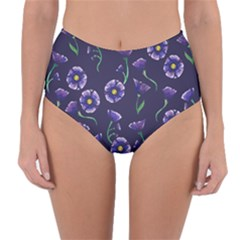 Floral Violet Purple Reversible High Waist Bikini Bottoms by BubbSnugg