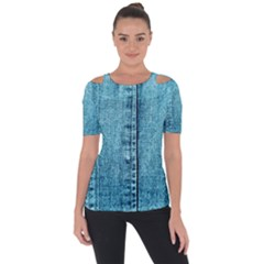 Denim Jeans Fabric Texture Short Sleeve Top