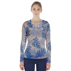Fabric Embroidery Blue Texture V Neck Long Sleeve Top