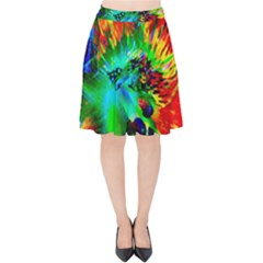 Flowers With Color Kick 2 Velvet High Waist Skirt by MoreColorsinLife