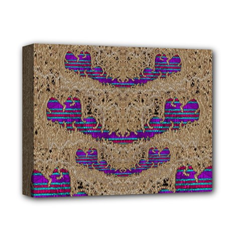 Pearl Lace And Smiles In Peacock Style Deluxe Canvas 14  X 11  by pepitasart