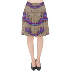 Pearl Lace And Smiles In Peacock Style Velvet High Waist Skirt