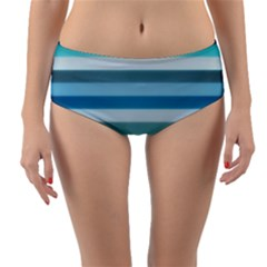 Texture Stripes Horizontal Blue Gray  Reversible Mid Waist Bikini Bottoms