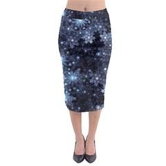 Stars Lines Dark Shadow Midi Pencil Skirt by amphoto