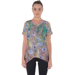 Texture Flowers Glitter  Cut Out Side Drop Tee