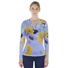 Color Background Pattern Surface  V Neck Long Sleeve Top