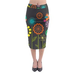 Colorful Vector Flowers Birds  Midi Pencil Skirt by amphoto
