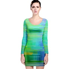 Colors Rainbow Pattern Long Sleeve Bodycon Dress by paulaoliveiradesign