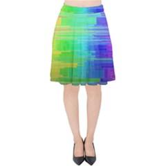 Colors Rainbow Pattern Velvet High Waist Skirt by paulaoliveiradesign