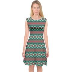 Ethnic Geometric Pattern Capsleeve Midi Dress by linceazul