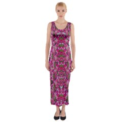 Fantasy Magnolia Tree In A Fantasy Landscape Fitted Maxi Dress by pepitasart