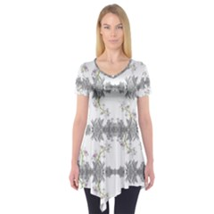 Floral Collage Pattern Short Sleeve Tunic  by dflcprintsclothing