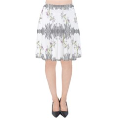 Floral Collage Pattern Velvet High Waist Skirt by dflcprintsclothing