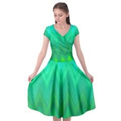 Zig Zag Chevron Classic Pattern Cap Sleeve Wrap Front Dress