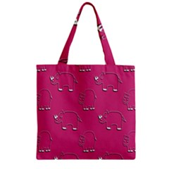 Rhino Pattern Wallpaper Vector Zipper Grocery Tote Bag