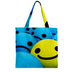 Smile Blue Yellow Bright  Zipper Grocery Tote Bag by amphoto