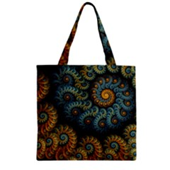 Spiral Background Patterns Lines Woven Rotation Zipper Grocery Tote Bag by amphoto
