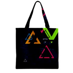 Abstract Triangles Resize Zipper Grocery Tote Bag by amphoto
