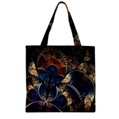 Abstract Pattern Dark Blue And Gold Zipper Grocery Tote Bag by amphoto
