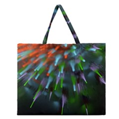 Explosion Rays Fractal Colorful Fibers Zipper Large Tote Bag by amphoto